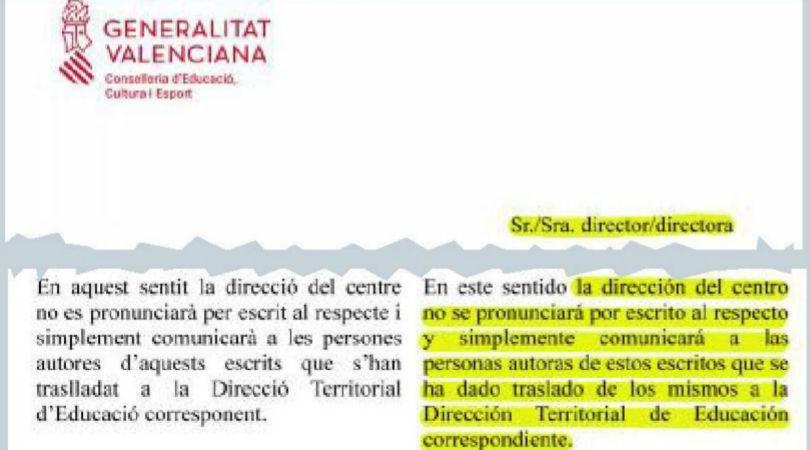 Valencia: Educación pide a los colegios rechazar el pin parental sin respuesta escrita