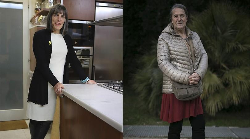 Las militantes de ERC, Clara Palau (izq.) y Fina Campàs (der.) ALBERT GARCIA / CRISTÓBAL CASTRO